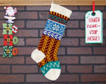 Christmas Stocking, Hand Knit in Off-White with Herringbone Design in Burgundy and Gold, Snowflake, Fair Isle, Can Personalize, Gift Idea