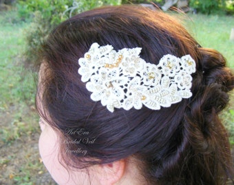 Ivory Lace Hair Piece - Bridal Head Piece - Wedding Trends -Vintage Style Hair Comb - Wreath Lace Hair Jewelry
