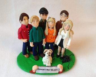 Custom Family Polymer Clay Figurine, Polymer Clay Family Cake Topper.  A Hand Crafted Art Sculpture.