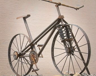 Steampunk Bike Photo, Steel Bike Sculpture Photo, Bicycle Art, Two Wheels, Cycle Photography