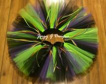 Plum, Black & Neon Green Witch Tutu- Adult Witch Tutu-Kids Witch Tutu-Halloween Tutu- Witch Tutu Costume