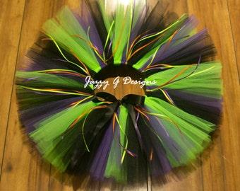 Plum, Black & Neon Green Witch Tutu - Adult Witch Tutu - Kids Witch Tutu - Halloween Tutu - Witch Tutu Costume