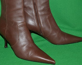 Bruno Magli Italy brown  calf skin leather boots size 37