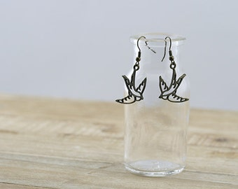Antique Bronze Swallow Hook Earrings