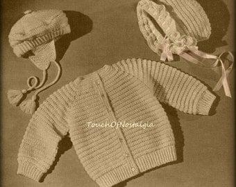 Crochet SWEATER Bonnet Pattern Puff-Stitch Sweater JACKET Cardigan Matching Ruffled Brim Bonnet or Saucy Beret - Sizes 1 and 2