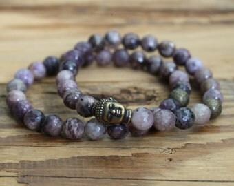 Amethyst bracelet buddha bracelet buddha jewelry bracelet beaded bracelet buddhas gifts purple ladies jewelry yoga mala