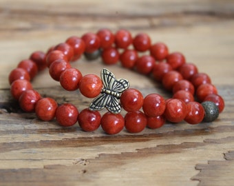 Coral bracelet butterfly bracelet butterfly jewelry bracelet beaded bracelet butterfly beads