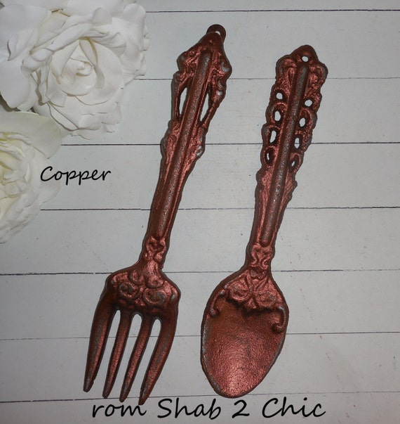 Kitchen Wall Decor Fork And Spoon: COPPER / Large Fork And Spoon / Home Decor /Kitchen Wall