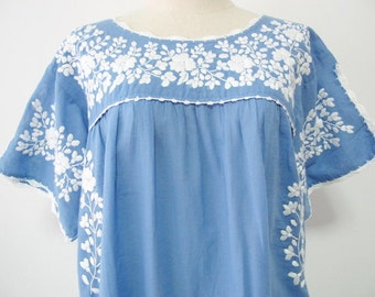 Mexican Embroidered Dress Cotton Tunic In Blue Boho Dress