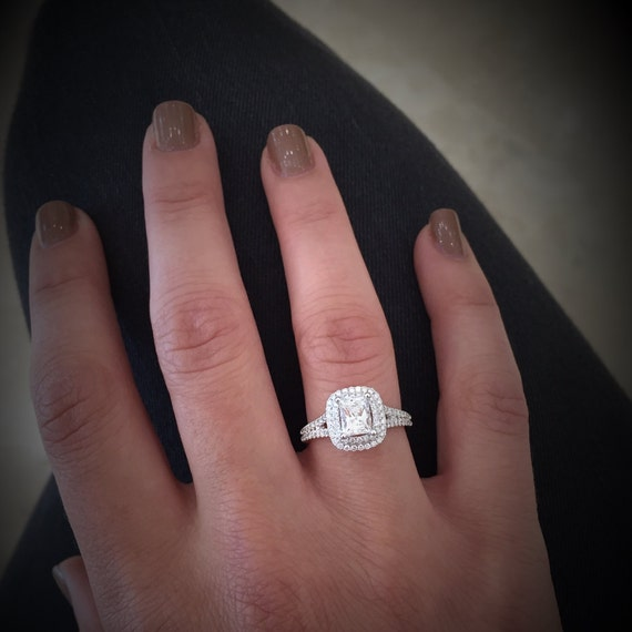 Rectangular Princess Cut Diamond With Double Halo Engagement