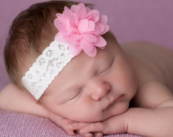 FREE SHIPPING! Pink Flower Headband, Pink Baby Headband, Pink Newborn Headband, Newborn Headbands, Baby Headbands, Photography Props