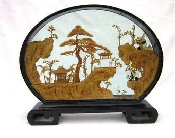Vintage Chinese Diorama, Carved Cork Under Glass