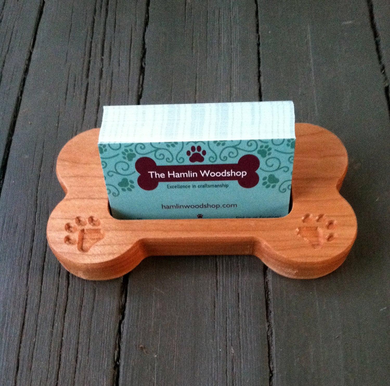 Business card holder carved wood dog bone dog card holder for Business cards shaped like a house