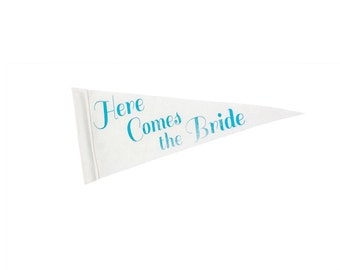 Here Comes the Bride Pennant Flag - Blue & White for Ring Bearer, Ceremony Attendant, Photo Booth prop