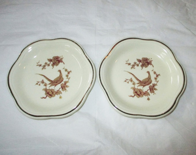 "2 Palissy Royal Worcester ROYALE COLLECTION 4-3/8"" Pin Dishes, Gold Pheasants, ca. 1960s"
