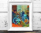 Bicycle in 37th Street Digital Watercolor 8 x 10 print
