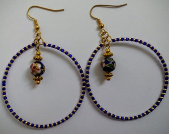 Blue and Gold Cloisonne large hoop earrings