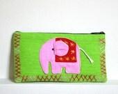 Pink Elephant Pouch / Makeup Case / Smartphone Bag / Pencil Case / Clutch / Accessory LP922