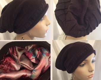 Satin Lined Hat-Chocolate Brown-Slouch Beanie