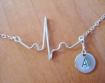 Heartbeat Necklace, EKG necklace, gift for nurse, expectant mother, gift for doctor, personalized heartbeat necklace with initial