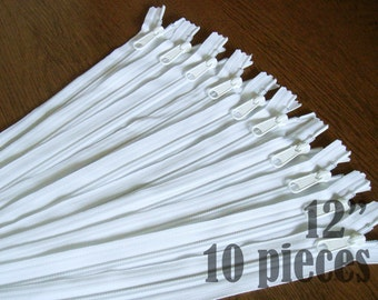 "white purse zippers, handbag zippers, purse zippers, white zippers, 12"" zippers, ykk zippers, wholesale zippers - no. 4.5 10 zippers"