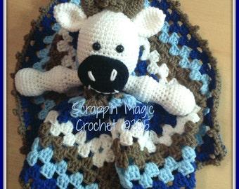 Crochet Cow Lovey ~ lovie ~ security blanket ~ stuffie