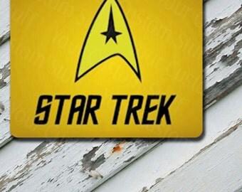 Mousepad Star Trek The Original Series Starfleet Insignia Yellow Vertical Design on Mousepad