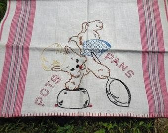 Vintage  Embroidered Linen Tea Towel Kitchen Towel Scottie Dog Pots and Pans CRISP Mid Century FAB