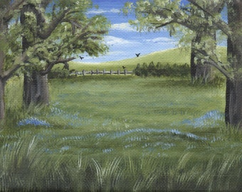 Bluebell Woodland - Acrylic Painting on Stretched Canvas - SALE