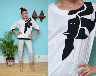 80s MONOCHROME lady face dolman shirt // boxy oversize black white disco glam novelty patchwork hipster grunge batwing sleeve blouse top