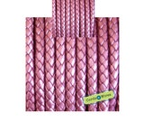 DB06122 - 0,40 meter x 6.00mm Pink, Round Braided Leather Cord