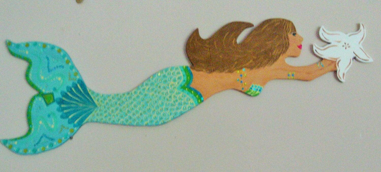 Beach Decor Home Decor Wooden Mermaid Mermaid