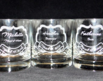 Bridal Party on the rocks glasses bridal party gifts, bridesmaids gifts, maid of honor gift, wedding gift