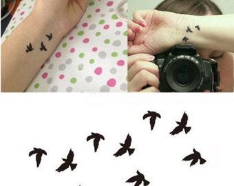 Black Temporary Tattoos Body Art Transfers Tatts Flash Skulls TT426 Swallows Flying Birds