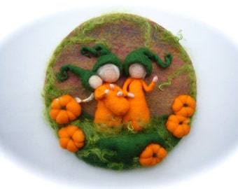 Pumpkin Picture,tapestry,Wet felted,Needle Felted. Waldorf.