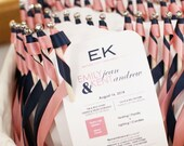 Color Modern Chic Wedding Programs with Ribbon Wands - Deposit