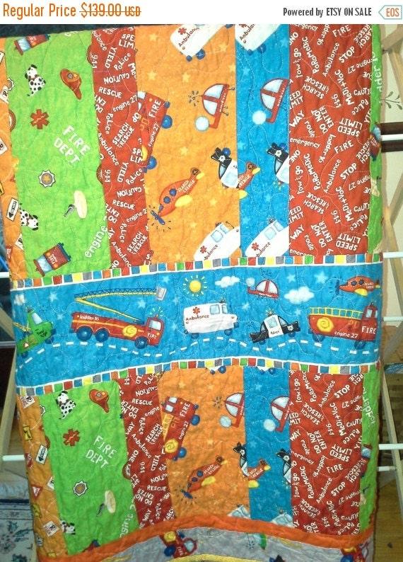 Baby boy crib toddler quilt designer fabric zip zip zoom for Boy nursery fabric