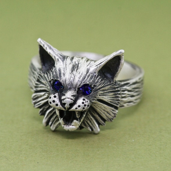 sterling silver cat ring wildcat ring unique animal
