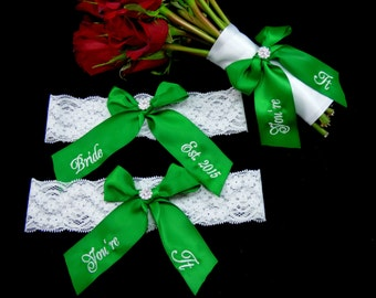 White Lace Apple Green Wedding Garter and Bouquet Ribbon, Bridal Garter, Bouquet Toss Ribbon, Personalized You're It Garter, Bouquet Ribbon