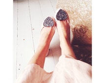 Charcoal Bridesmaid Shoe Clips, Dark Grey Glitter Heart Shoe Clips, Anthracite Glitter Heart Shoe Clips