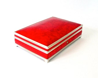 Vtg Jewelry Box Lockable Red and Silver