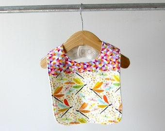 Baby/Toddler Bib, Colorful Dragonflies and Triangle Kaleidoscope Cotton with Organic Bamboo Terry