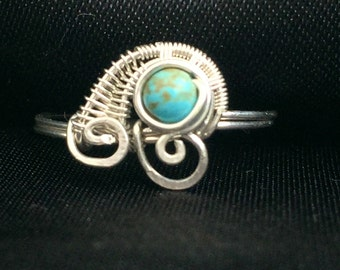 Wire Wrapped jewelry handmade, Wire Wrapped Ring, Sterling Silver Ring, Turquoise Ring, Personalized Ring