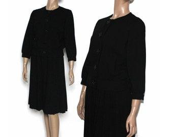 Vintage 1950s Outfit 1960's Black Designer Rockabilly Garden Party Mad Men Couture Pinup Bombshell Hourglass Femme Fatale Black Dress