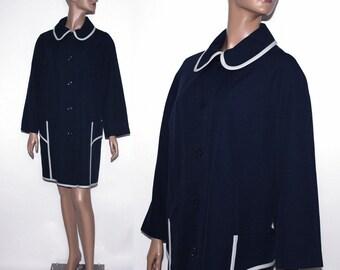 Vintage 1960s Coat Navy Blue Deadstock Designer Over coat Mad Man Garden Party Rockabilly Retro Femme Fatale Rain Coat