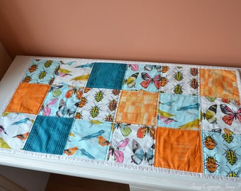 Bugs and birds quilted table runner - modern, contemporary home decor. Biology themed tableware, bug fabric, quirky, unusual home decor UK