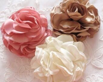 3 Larger Singed Flower Singed Rose Satin Flower Satin Roses (3-1/4) MY-380-16 Ready To Ship
