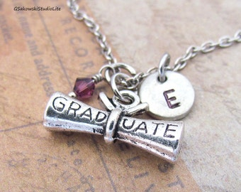 Graduate Diploma Charm Necklace, Personalized Antique Silver Hand Stamped Initial Graduation Diploma Charm Necklace