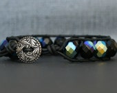 leather and crystal wrap bracelet - black with aurora borealis half finish