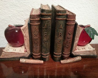 Bookends with Books/Apples/Pencils